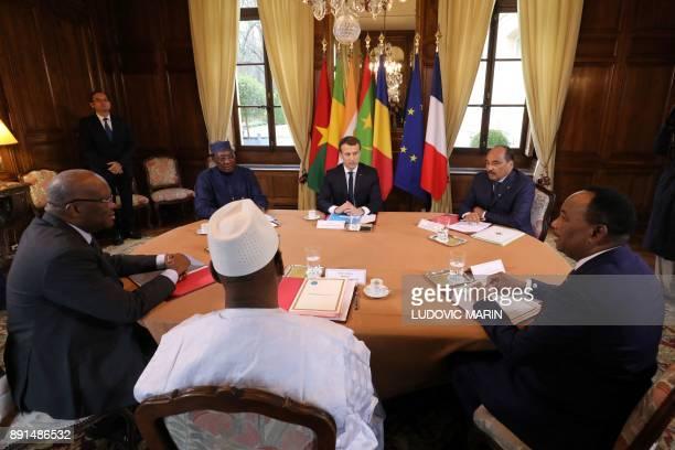 French President Emmanuel Macron hosts a meeting with Burkina Faso's President Roch Marc Christian Kabore Chadian President Idriss Deby Malian...