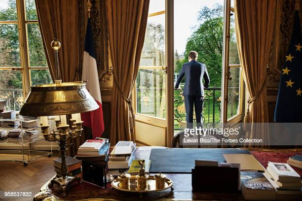 French president Emmanuel Macron is photographed for Forbes Magazine on April 13 2018 in Paris France CREDIT MUST READ Levon Biss/The Forbes...