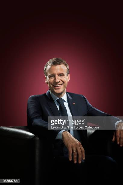 French president Emmanuel Macron is photographed for Forbes Magazine on April 13 2018 in Paris France COVER IMAGE CREDIT MUST READ Levon Biss/The...