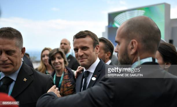 French President Emmanuel Macron is pictured at the end of the Summit of the Heads of State and of Government of the G7 the group of most...