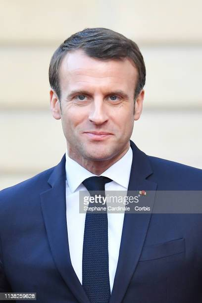 French President Emmanuel Macron is seen after his meeting with Chinese President Xi Jinping at the Elysee Presidential Palace on March 25 2019 in...