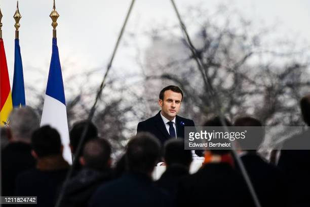 French President Emmanuel Macron is seen while King Felipe Of Spain and Queen Letizia of Spain attend the Tribute to the Victims of Terrorism At...