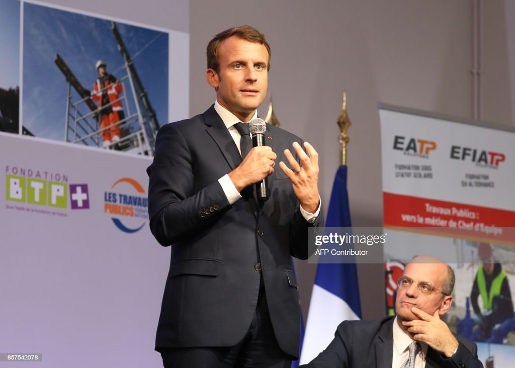 French President Emmanuel Macron Is Watched By Minister Of Education News Photo Getty Images
