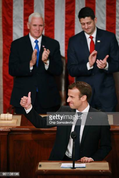 French President Emmanuel Macron is welcomed with a standing ovation during a joint meeting of the US Congress in the House Chamber with US Vice...