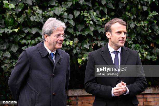 French President Emmanuel Macron Italian Premier Paolo Gentiloni and Italian Culture Minister Dario Franceschini on the occasion of their visit to...