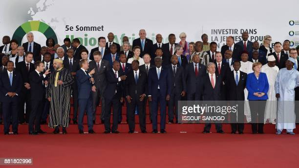 French President Emmanuel Macron, King Mohammed VI of Morocco, European Council President Donald Tusk, Guinea's President Alpha Conde, Ivory Coast's...