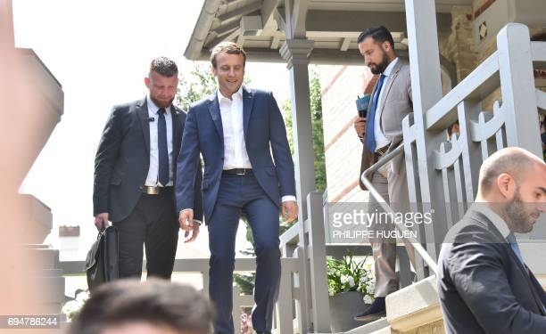 French President Emmanuel Macron leaves his home followed by Elysee senior security officer Alexandre Benalla in Le Touquet northern France on June...