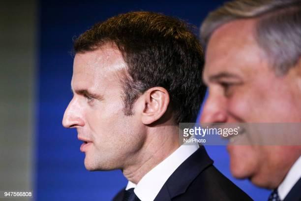 French President Emmanuel Macron left listens to European Parliament president Antonio Tajani at the European Parliament in Strasbourg eastern France...