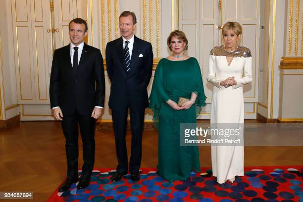 French President Emmanuel Macron LLAARR GrandDuc Henri of Luxembourg GrandeDuchesse Maria Teresa of Luxembourg and Brigitte Macron attend the State...