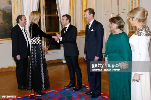 French President Emmanuel Macron LLAARR GrandDuc Henri of Luxembourg GrandeDuchesse Maria Teresa of Luxembourg and Brigitte Macron with Xavier Niel...