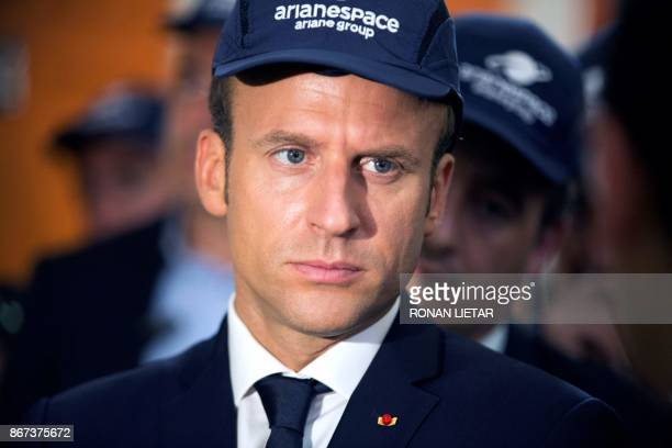 French President Emmanuel Macron looks during a visit to the Guiana Space Centre in Kourou on October 27 2017 as part of a threeday visit to French...