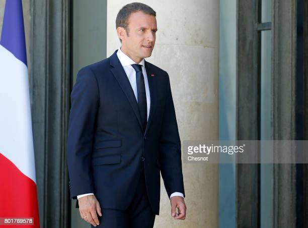 French President Emmanuel Macron looks on after his meeting with Ukrainian President Petro Poroshenko at the Elysee Presidential Palace on June 26...
