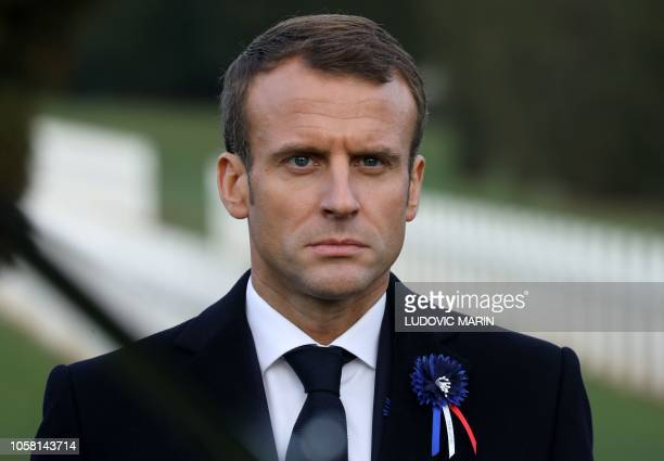 French President Emmanuel Macron looks on at the Ossuary of Douaumont near Verdun northeastern France on November 6 2018 during ceremonies marking...