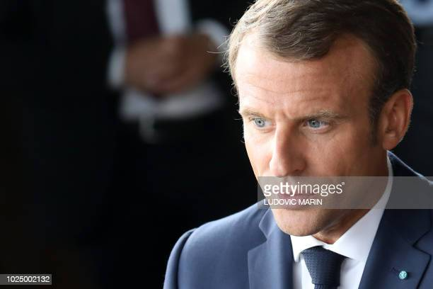 French President Emmanuel Macron looks on during a farewell ceremony at the Royal Theatre at the end of his visit to Denmark on August 29 2018 in...
