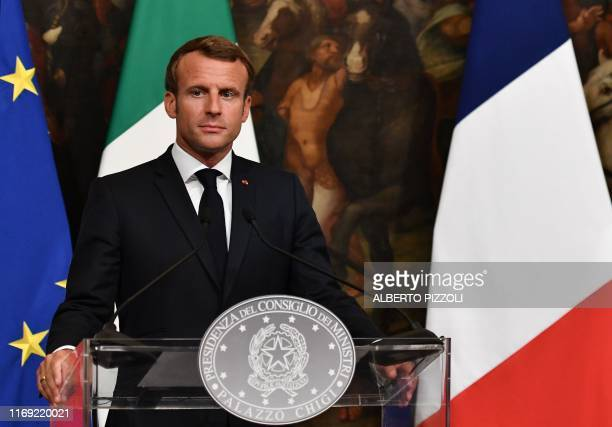 French President Emmanuel Macron looks on during a joint press conference following a meeting with Italy's Prime Minister on September 18 2019 at...