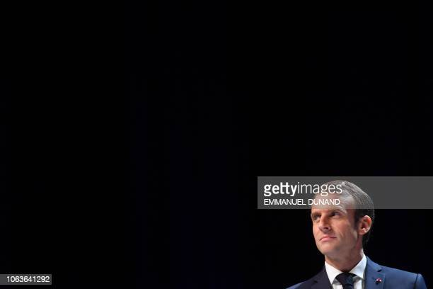 French President Emmanuel Macron looks on during his visit at the University of Louvain on November 20 in LouvainlaNeuve during a twoday state visit...