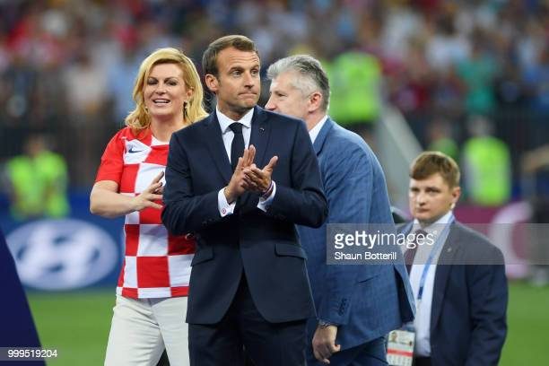 French President Emmanuel Macron looks on prior to the winners ceremony following the 2018 FIFA World Cup Final between France and Croatia at...