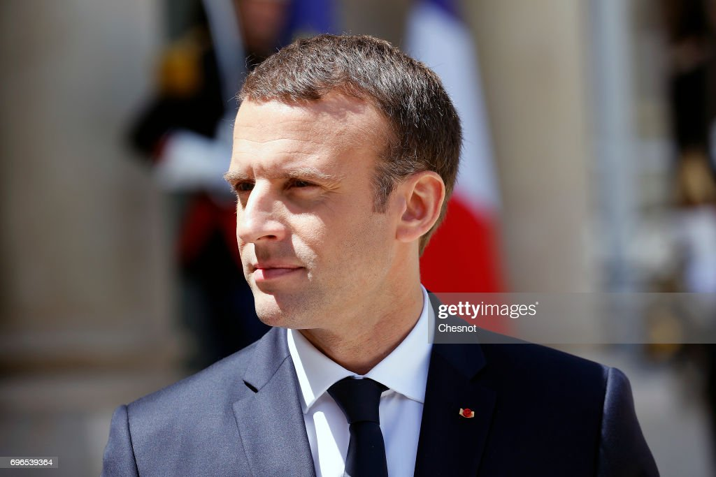 French President Emmanuel Macron makes a statement next to Estonian President, Juri Ratas during a press conference after their meeting at the Elysee Presidential Palace on June 16, 2017, in Paris France. Ratas is on an official visit to Paris.