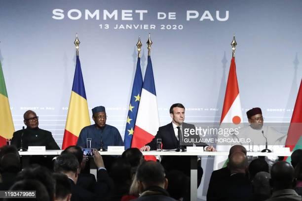 French President Emmanuel Macron , Mali's President Ibrahim Boubacar Keita , Burkina Faso's President Roch Marc Christian Kabore , Niger's President...