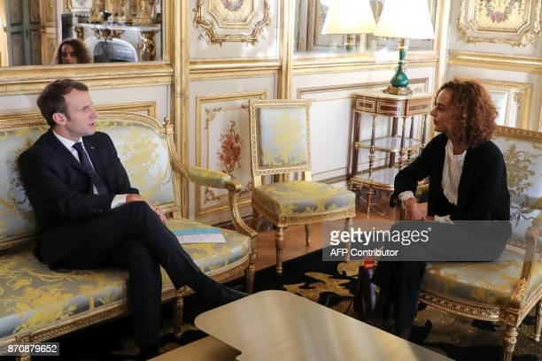 French president Emmanuel Macron meets FrenchMoroccan writer Leila Slimani at the Elysee palace on November 6 in Paris Leila Slimani will be...