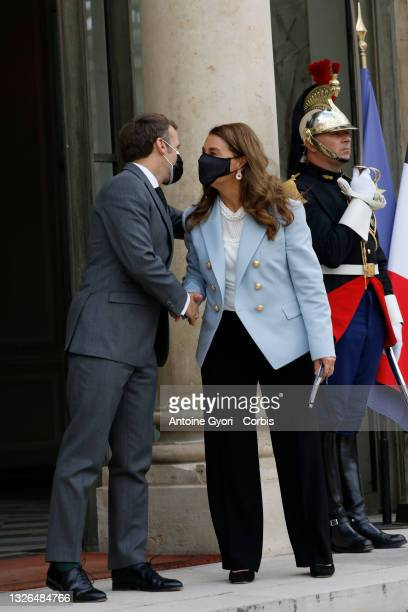 French President, Emmanuel Macron meets Melinda Gates, co-president of the Bill and Melinda Gates Foundation at the Generation Equality Forum at the...