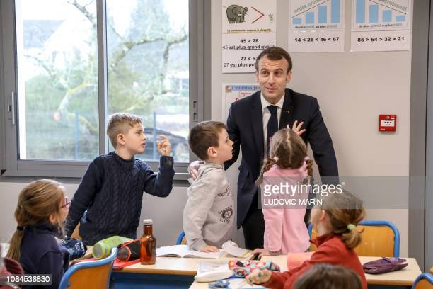 TOPSHOT French President Emmanuel Macron meets pupils as he visits the school of SaintSozy southwestern France on January 18 prior to a 'great...