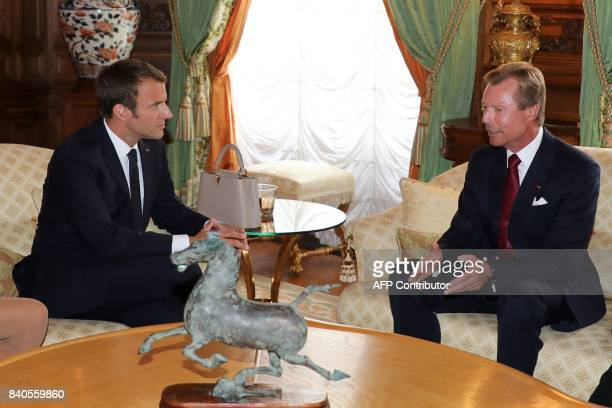 French President Emmanuel Macron meets with Grand Duke of Luxembourg Henri at the Palais grandducal in Luxembourg on August 29 2017 / AFP PHOTO /...
