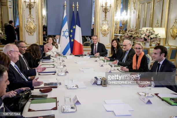 French President Emmanuel Macron meets with his Israeli counterpart Reuven Rivlin at the Elysee palace in Paris, France, on January 23, 2019.