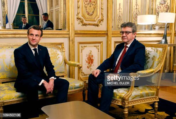 French President Emmanuel Macron meets with Jean-Luc Melenchon, head of leftist La France Insoumise party and deputy at the National Assembly, at the...