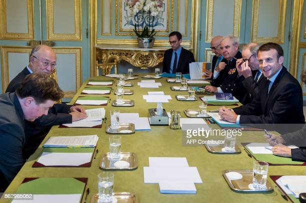 French president Emmanuel Macron meets with the Director General of the International Atomic Energy Agency , Yukiya Amano at Elysee palace in Paris...