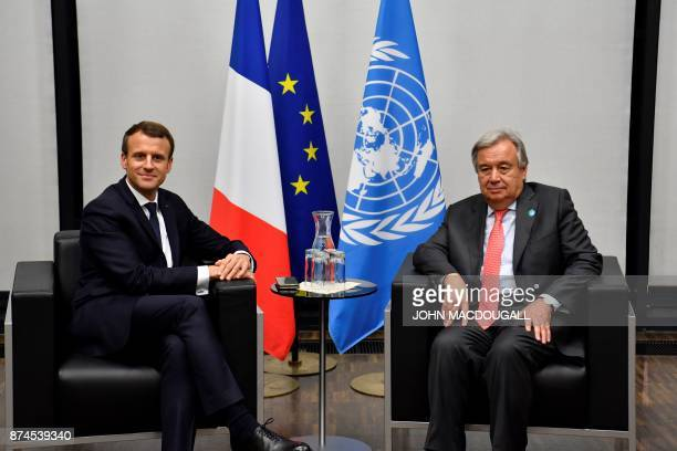 French President Emmanuel Macron meets with UN SecretaryGeneral Antonio Guterres for bilateral talks during the UN conference on climate change on...