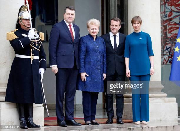 French President Emmanuel Macron poses with Lithuania's President Dalia Grybauskaite , Latvia's President Raimonds Vejonis and Estonia's President...