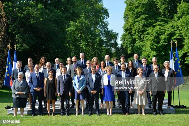 French president Emmanuel Macron poses with the members of the government at the Elysee Palace in Paris France 22 June 2017 In picture French...