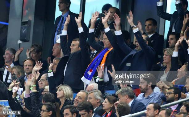 French President Emmanuel Macron Prime Minister of Netherlands Mark Rutte French Prime Minister Edouard Philippe doing the ola during the FIFA 2018...