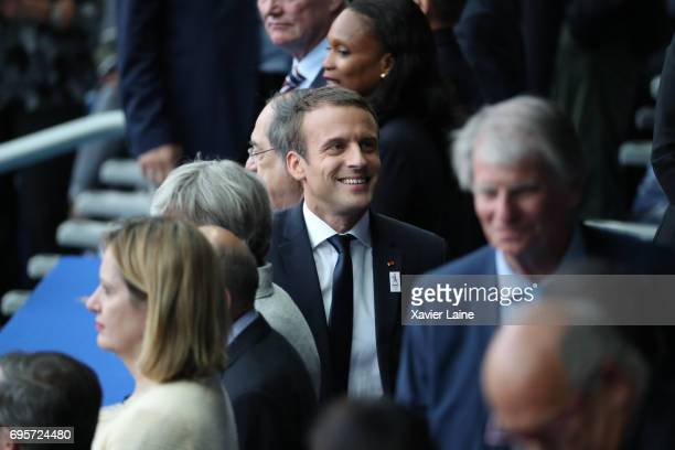 French president Emmanuel Macron react before the International Friendly match between France and England at Stade de France on June 13 2017 in Paris...