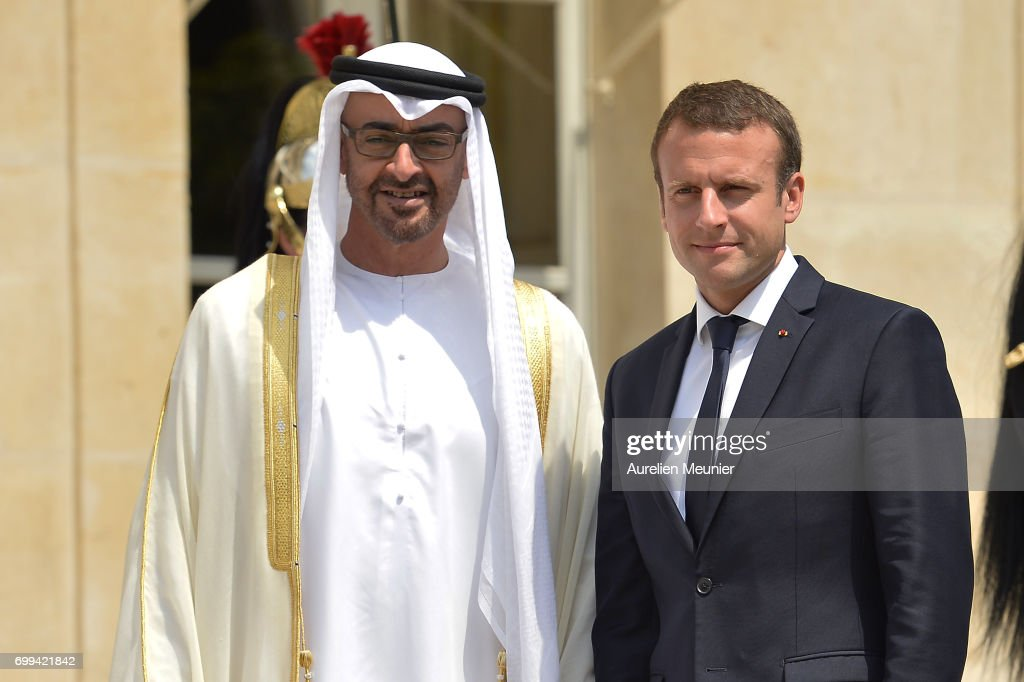 French President Emmanuel Macron Receives Abu Dhabi's Crown Prince Sheikh Mohammed Bin Zayed Al Nahyan at Elysee Palace