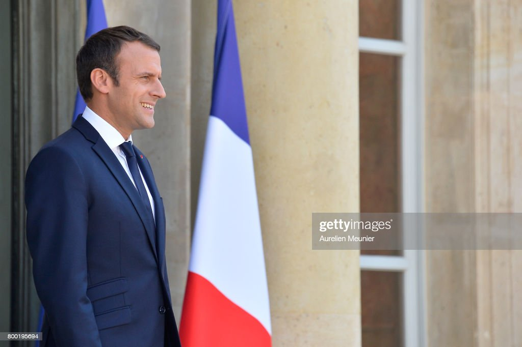 French President Emmanuel Macron Receives Arnold Schwarzenegger At Elysee Palace