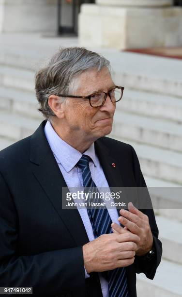 French President Emmanuel Macron receives Bill Gates of the Bill and Melinda Gates Foundation at Elysee Palace on April 16 2018 in Paris France