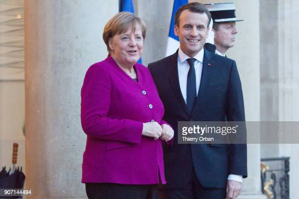 French President Emmanuel Macron Receives German Chancellor Angela Merkel at Elysee Palace on January 19 2018 in Paris France