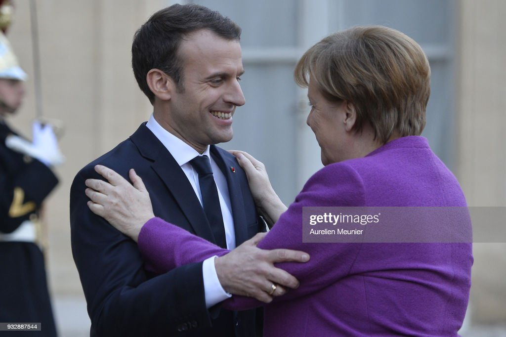 French President Emmanuel Macron Receives German Chancellor Angela Merkel