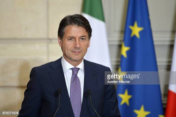 French President Emmanuel Macron receives Italian Prime Minister Giuseppe Conte for a meeting at Elysee Palace on June 15 2018 in Paris France...