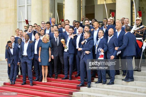 French President Emmanuel Macron receives the France football team during a ceremony at the Elysee Palace on July 16, 2018 in Paris, France. France...