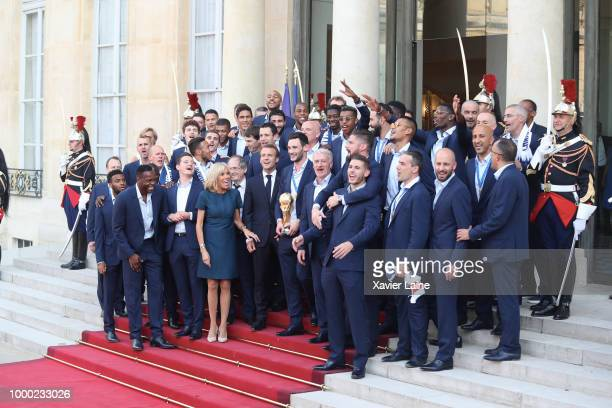 French President Emmanuel Macron receives the France national football team during a ceremony at the Elysee Palace on July 16, 2018 in Paris, France....
