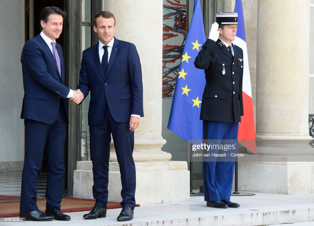 French President Emmanuel Macron Receives Giuseppe Conte, Italy's Prime Minister At Elysee Palace : News Photo