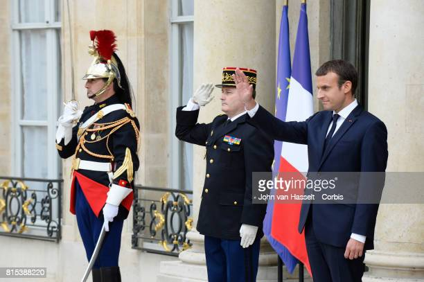 French President Emmanuel Macron receives US President Donald Trump at the Elysée Palace on July 13 2017 in Paris France