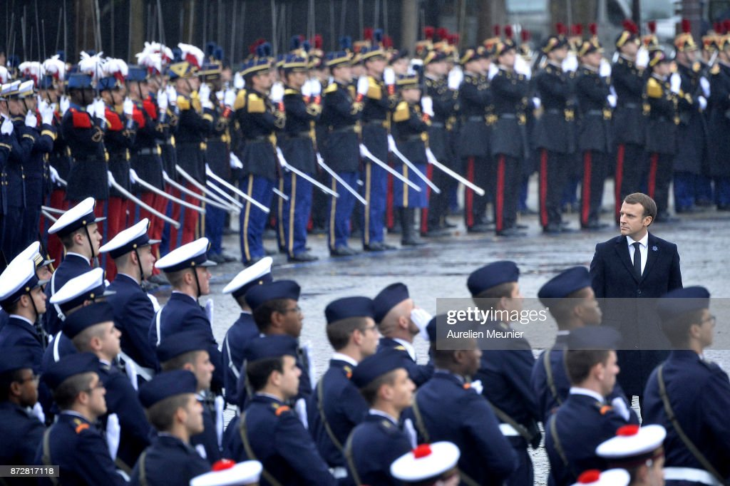 French President Emmanuel Macron reviews the troops during the Commemoration of Armistice Day ceremony on November 11, 2017 in Paris, France. The ceremony marks the 99th anniversary of the end of World War I.