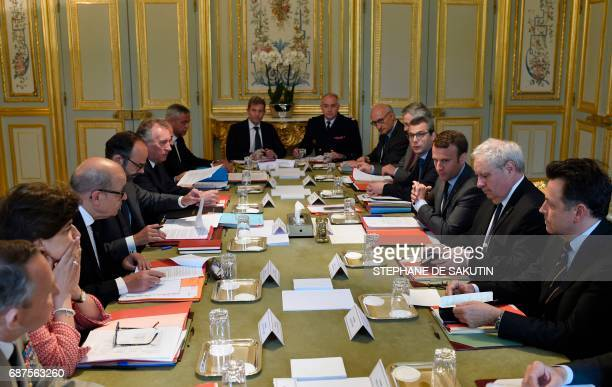 French president Emmanuel Macron , Secretary General of the Elysee presidential Palace Alexis Kohler , Admiral Bernard Rogel , French Minister of the...