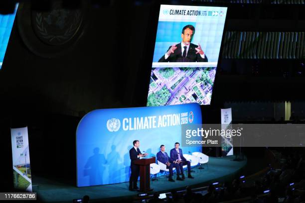 French President Emmanuel Macron speaks at the United Nations summit on climate change September 23, 2019 in New York City. While the U.S. Will not...