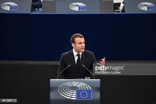 French President Emmanuel Macron speaks before the European Parliament on April 17 2018 in the eastern French city of Strasbourg Macron addresses the...