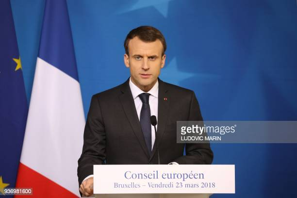 French president Emmanuel Macron speaks during a joint press conference with Germany's Chancellor on the second day of a summit of European Union...